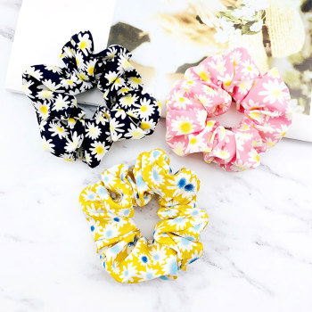 Drop Shipping Fashion Women Lovely Daisy Print Hair Bands Floral Hair Scrunchies Girl's Cute Accessories Vintage Ponytail Holder image