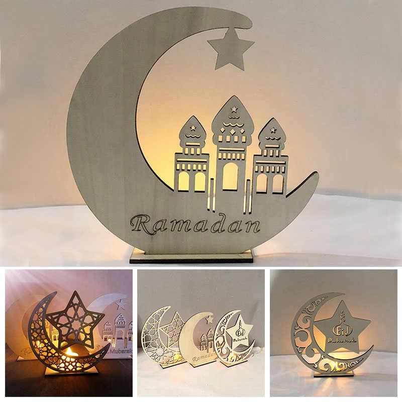 Светильник для свечей Рамадан деревянный ИД Мубарак украшение стола праздничный Декор полумесяц светодиодный светильник для чая лампа для дома мусульманская