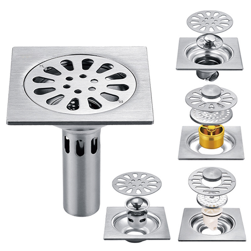 201 Stainless Steel Brushed Floor Drain 10 * 10cm Deodorant Core Self-sealing Bathroom Washing Machine Water Plug Floor Drain
