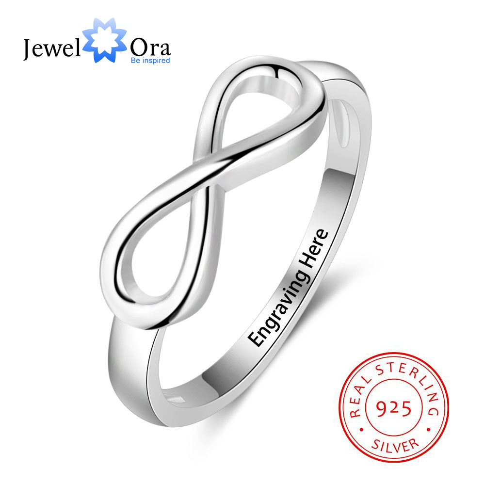 925 Sterling Silver Infinity Love Knot Rings For Women Customized Personalized Engrave Name Promise Ring Gift(JewelOra RI101995)