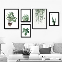 Watercolor Tropical Plant leaves Canvas Art Print Poster,Nordic Green leaf rural Wall Pictures for Home Decoration