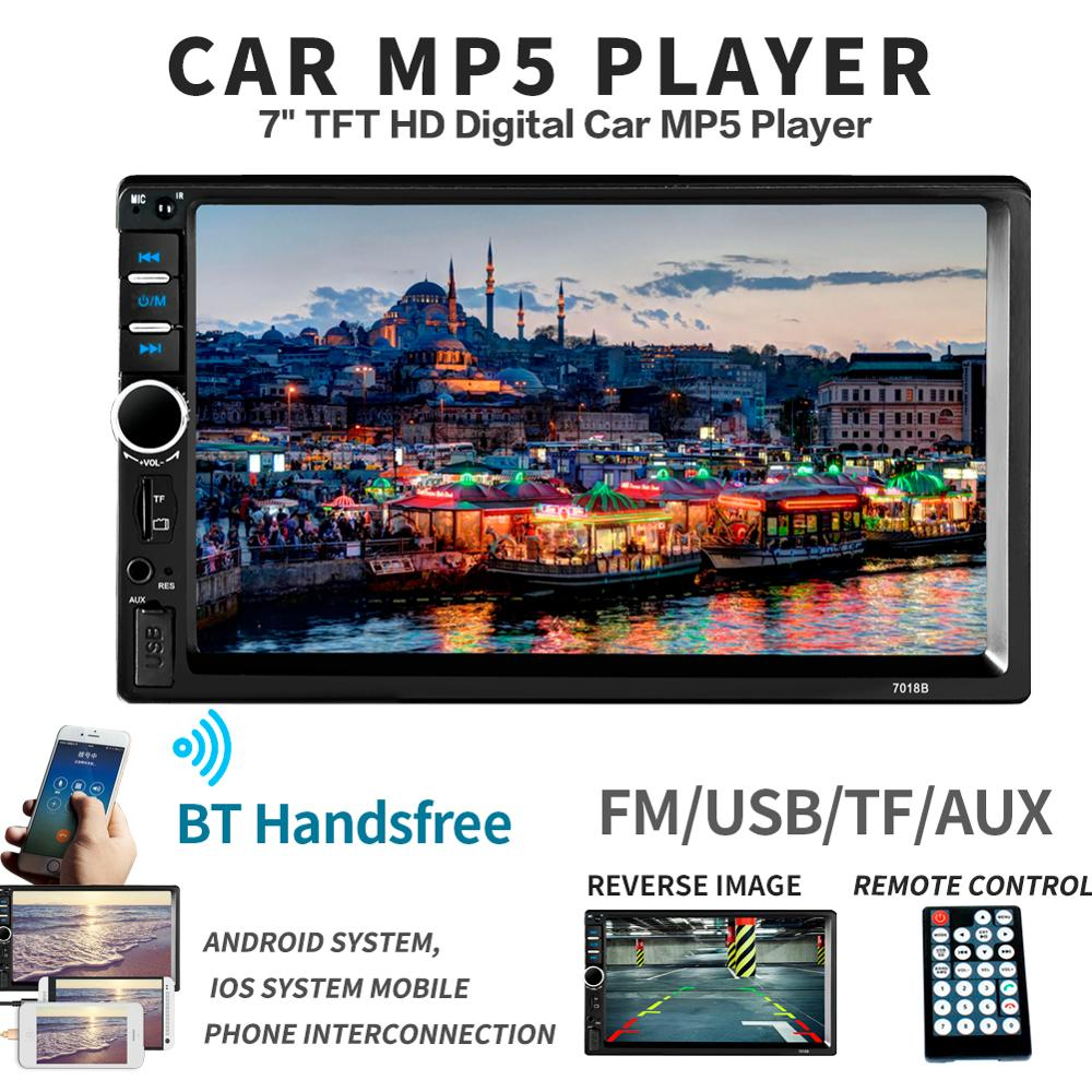 <font><b>7018B</b></font> <font><b>Car</b></font> <font><b>Radio</b></font> 2 Din Mp5 Player Bluetooth Handsfree Touch Screen Auto <font><b>Radio</b></font> Reverse Image Support Rear View Camera SWC Remote image