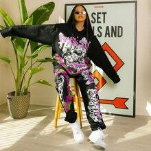 Set di pantaloni da donna girocollo in due pezzi con stampa Graffiti Highstreet H8010