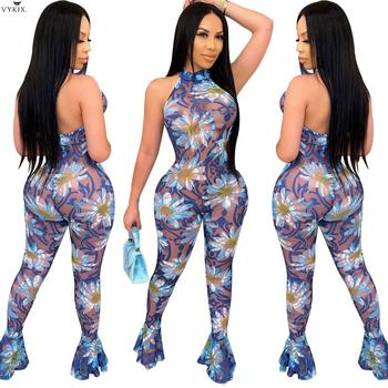Women Floral Halter Neck Open Back Mesh See Though Sleeveless Bodycon Flare Jumpsuit Sexy Party One Piece Romper Club Overalls white open back hollow design halter sleeveless sexy jumpsuit