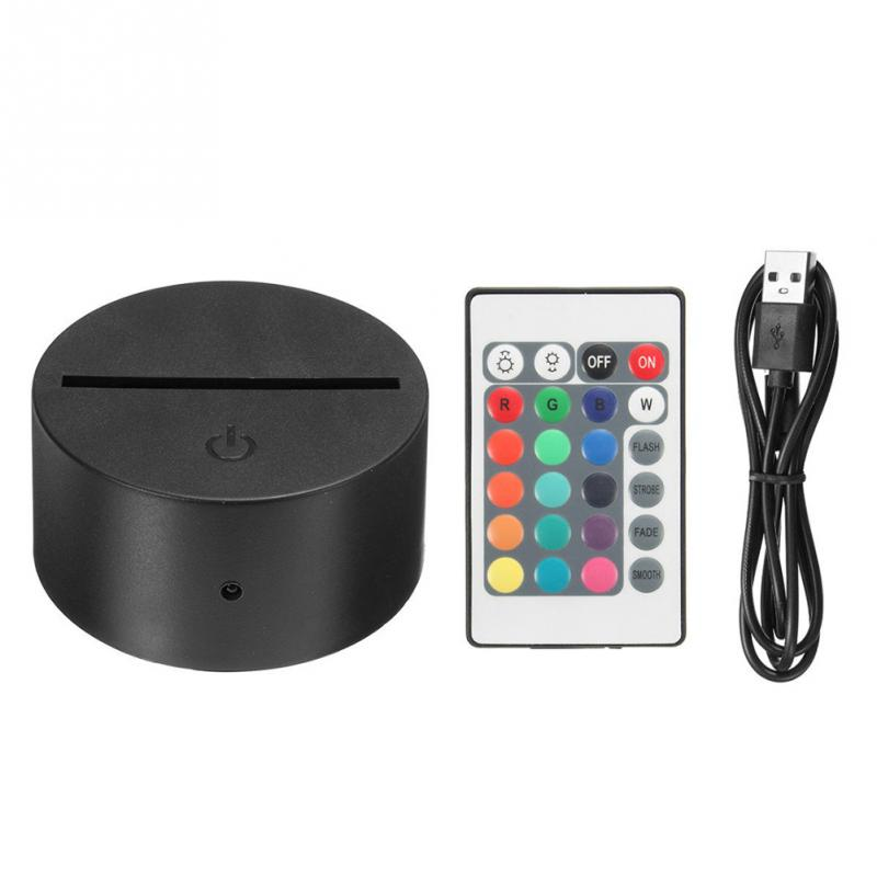 Touch Switch Modern Black USB Cable Remote Control Night Light Acrylic 3D Led Night Lamp Assembled Base/ image