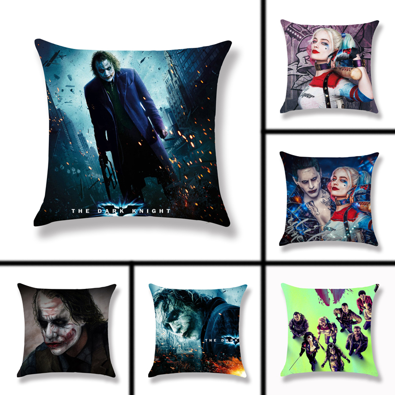 45x45cm Polyester Pillowcase Peach Clown Cushion Cover Joker Batman Home Pillow Case Coussin De Salon Pillows Cover