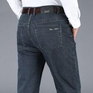 Image 2 - 2020 新秋冬メンズストレッチジーンズビジネスカジュアル古典的な風のズボン、黒グレーストレートデニムパンツ男性ブランド