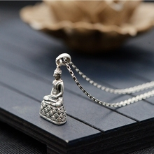 S925 silver retro Thai silver craft necklace pendant Buddhist three-dimensional Buddha Buddha statue pendant s925 filaments shaolan craft silver inlaid huang yusui pendant in front of blessing silver supply