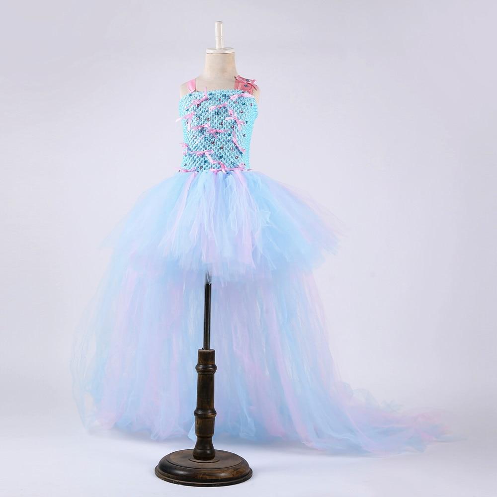 Kids Fairy Wedding Dresses Girls Christmas Flower Girl Wedding Dress with Long Tail Bowknot Pearl Tutu Dress Children Clothes