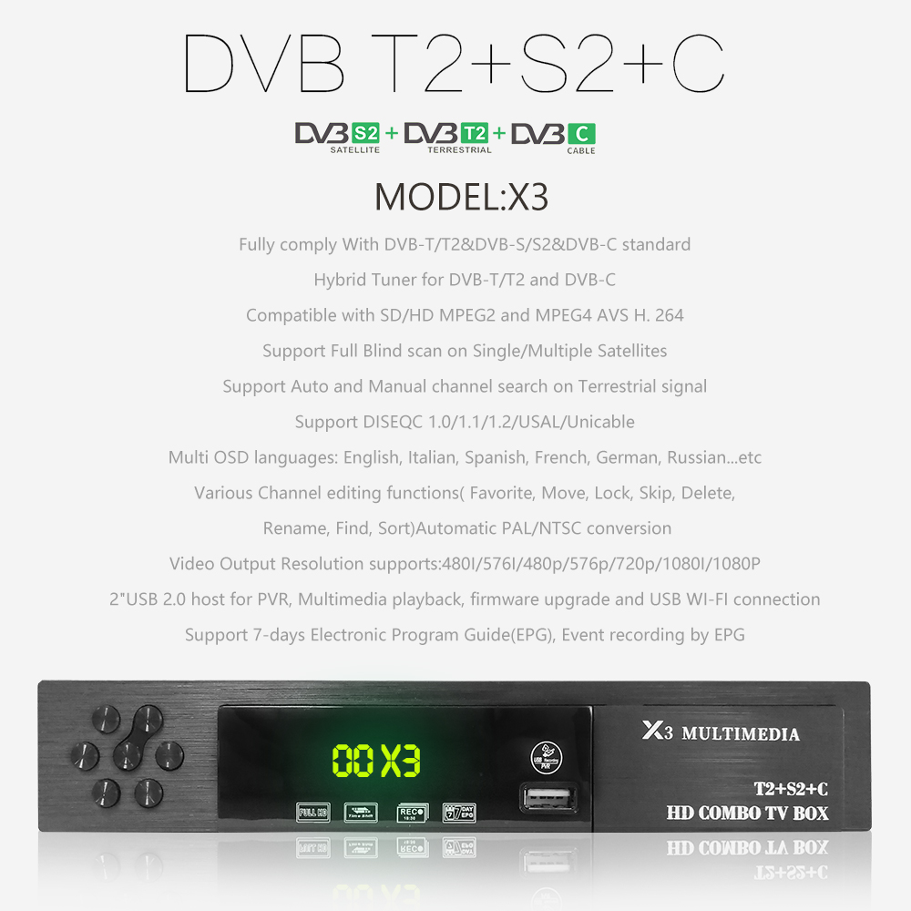 Image 2 - DVB T2/S2 + DVB C Combo HD Digital Terrestrial Satelliter TV Receiver With 1 Year Europe Cccam + USB WIFI Support Dolby AC3 IPTV-in Satellite TV Receiver from Consumer Electronics