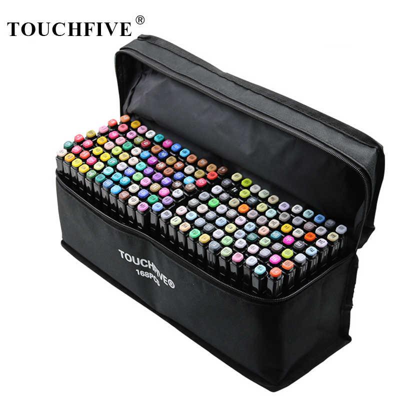 TouchFIVE e n e n e n e n e n e n e n e n e n e fırça işaretleyici seti Graffiti Marker kalem seti eskiz belirteçleri 168 renk cetvel kalemi Manga tasarım okul için