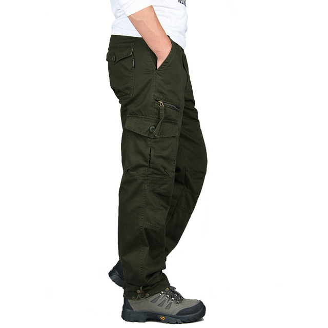 New 2019 Men Cargo Pants Multi Pockets Military Tactical Pants Men Outwear Streetwear Army Straight Slacks Casual Long Trousers 3