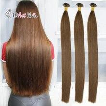 HiArt волосы для наращивания на плоских кончиках, человеческие волосы для наращивания, двойные накладные волосы, прямые волосы для наращивания, кератиновые волосы remy для салона