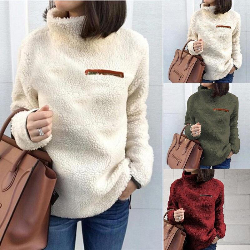Women Fluffy Fleece Sweatshirt Pullover Winter Casual Turtleneck Zipper Female Hoodies Loose Warm Soft Solid Women Tops Jumper