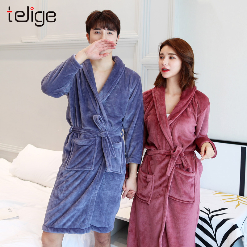 Winter Men Bathrobe Kimono Long Coral Fleece Couple Dressing Gown Warm Flannel Bath Robe Women Cozy Robes Night Sleepweat