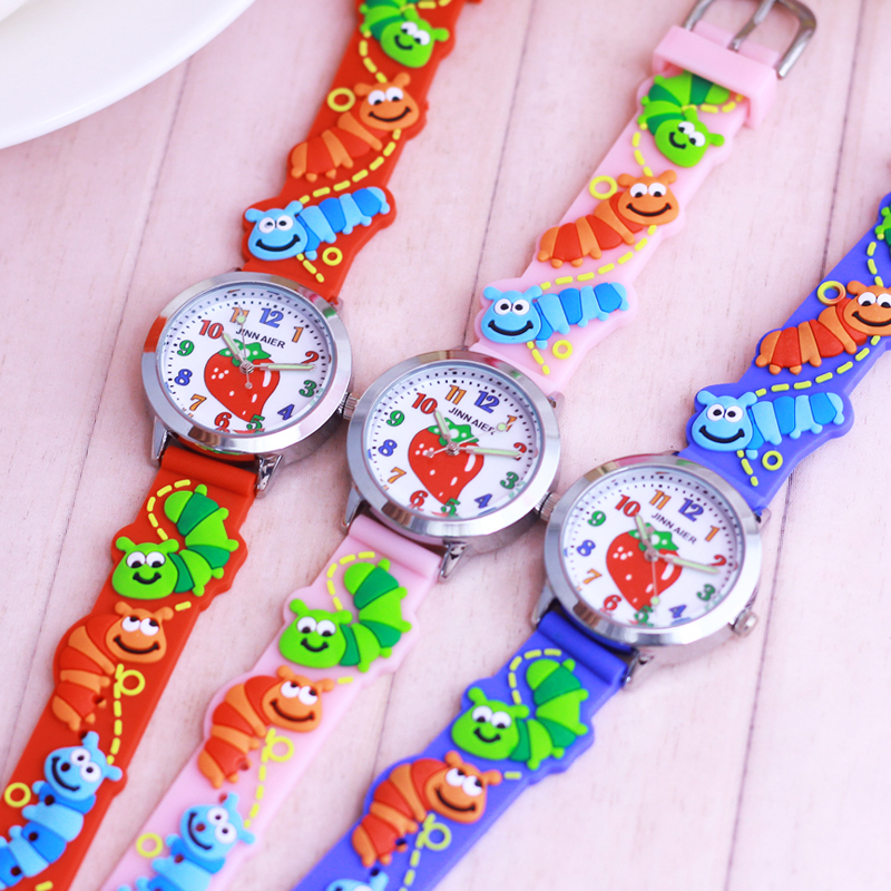 Hot Selling Children Boys Girls 3D Strawberry Caterpillar Silicone Strap Watches Students  Kids Lovely Quartz  Waterproof Watch