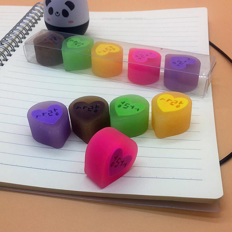 5 Pcs/pack Cartoon Mini Candy Color Love Heart Shape 2B Rubber Pencil Erasers Drawing Sketch Eraser Stationery Papelaria Gift