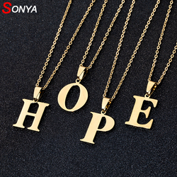 Мужские и женские ожерелья SONYA A to Z, колье из нержавеющей стали с надписью, золотое/серебристое ювелирное изделие с английской надписью