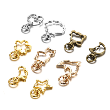 5pcs/lot Star Moon Heart Cat Dog Shell Dolphins Flowers Charms Lobster Clasps Hook For DIY Key Chain Jewelry Making Accessories