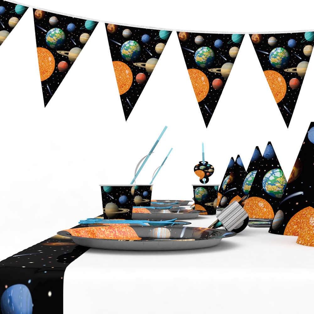 Espaço planeta descartável festa conjuntos de utensílios de mesa para crianças aniversário decorações universo placa guardanapo copo banner festa suprimentos