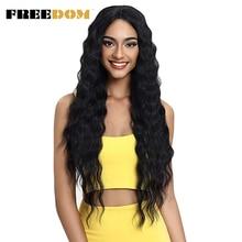 Perucas dianteiras do laço da liberdade onda profunda parte média ombre loira marrom 6 cores 30 polegadas perucas sintéticas da parte dianteira do laço para mulher