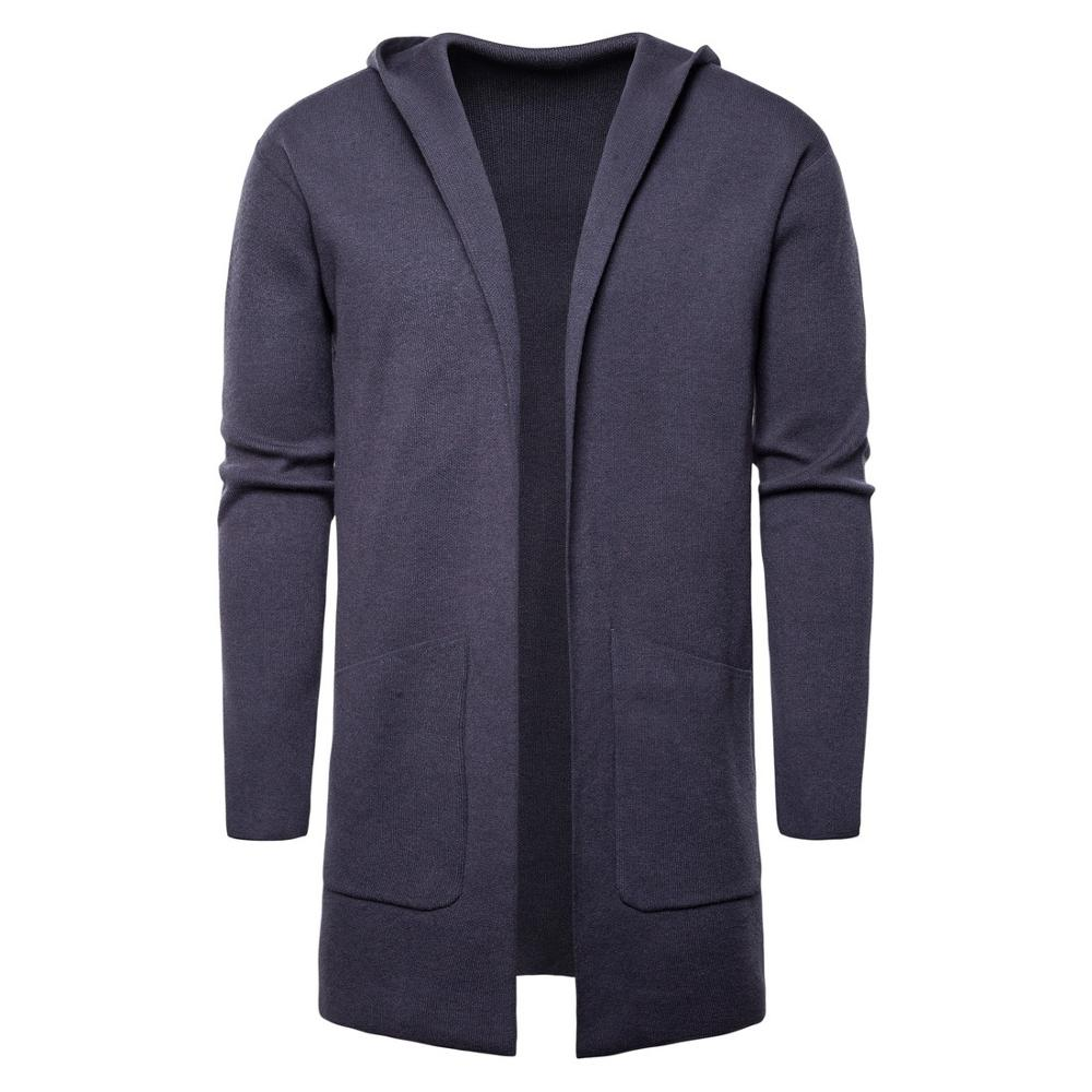 2019 Autumn And Winter New Men's Solid Color Hooded Cardigan Sweater Long Sweater Men's Large Size Sweater Coat J779