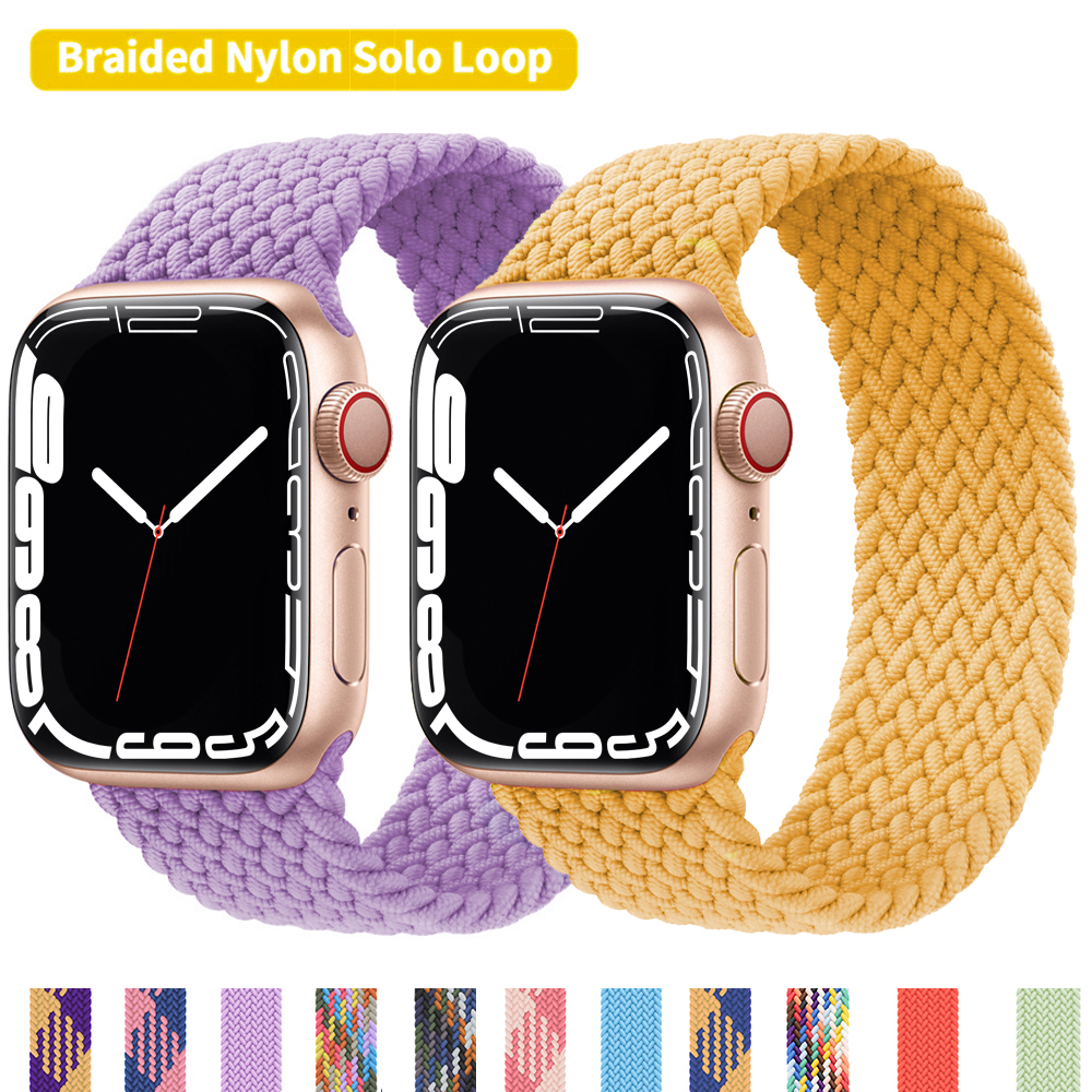 Braided Solo Loop bnad For Apple Watch strap 44mm 40mm 42mm 38mm 44 mm Nylon Elastic Fabric Bracelet For iWatch Serie SE 7654321