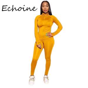 Image 1 - Casual Lente 2 Delige Set Vrouwen Joggen Femme Sportwear Zweetkostuums Vrouwen Crop Top + Lange Broek Outfits Solid 8 kleur