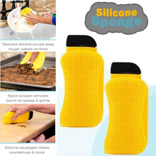 Kitchen Cleaning Tool Sponge Brush Silicone Dish Bowl Clean Brush Washing Pan Dish Bowl Sponge Scraper With Soap Dispenser #BL5 2pcs multifunction silicone dish bowl cleaning brush dish sponge kitchen washing tool