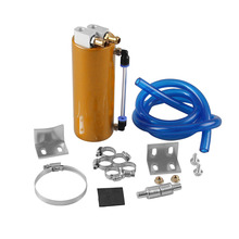 Universal 350ML Aluminum Racing Oil Catch Tank/Can Round Can Reservoir Turbo Oil Catch can