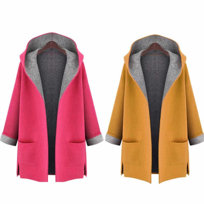 4Xl 5Xl jaquetas Plus Size Casaco De Lã Das Mulheres Casuais de Manga Longa Outono Inverno Misturas de Lã Com Capuz Outerwear Oversize Trench Coats