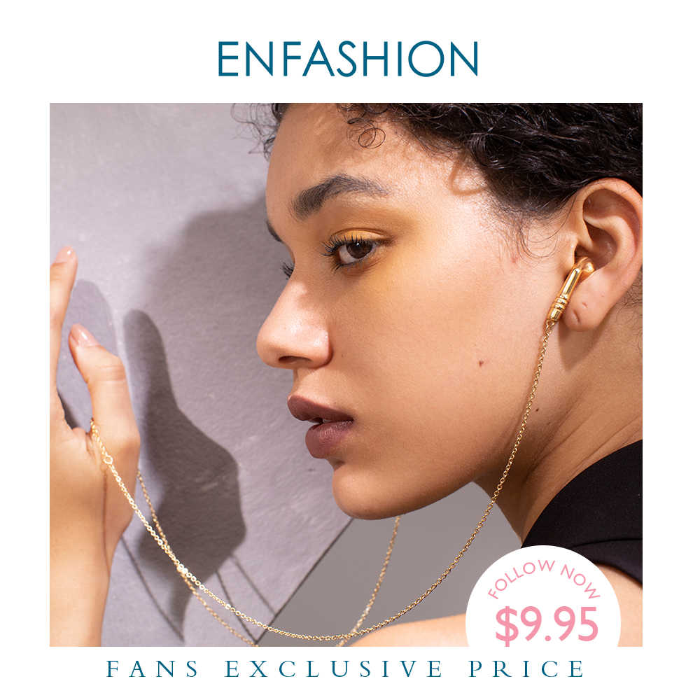 ENFASHION Logam Earbud Kalung Rantai Kalung Wanita Emas Warna Stainless Steel Earpiece Kalung Femme Fashion Perhiasan P193048