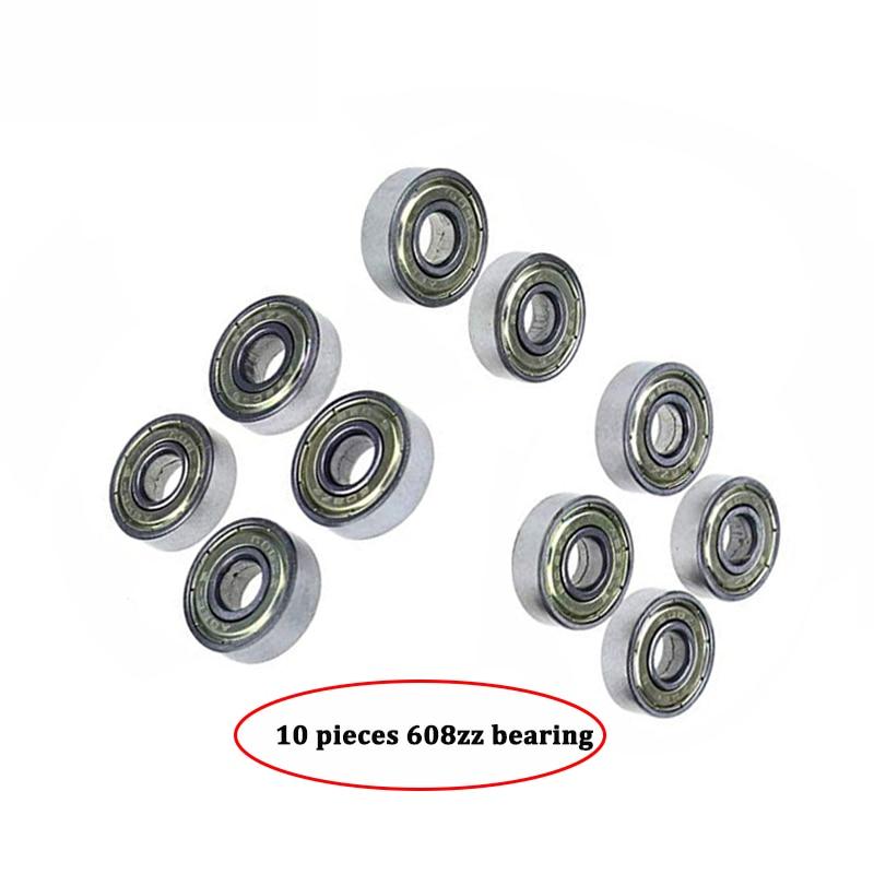 10pcs Double Shielded Miniature High-carbon Steel Single Row 608ZZ ABEC-5 Deep