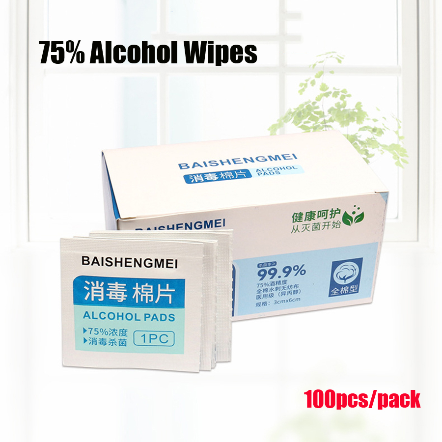 100pcs 75% Alcohol Wipe Pad Cotton Disposable Disinfection Prep Swap Skin Surface Cleaning Care Piercing Jewelry Mobile Phone