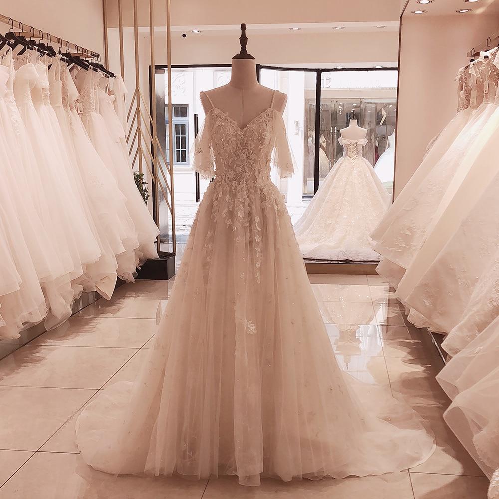 SL-5095 SuLi Spaghetti-trägern Lace Up Hochzeit Kleid 2020 Neue Gericht Zug Braut Kleid Appliques 3D Blume Kristall Hochzeit Kleider