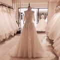 SL-5095 Сули на тонких бретелях со шнуровкой свадебное платье 2020 новый длинным шлейфом платья для невесты, аппликация 3D с украшениями в виде кр...