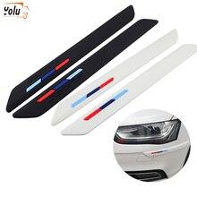 YOLU Car Rubber Front+Rear Bumper Scratch Protector Strip Corner Guard Sticker Black/White Edge Protection Styling Mouldings