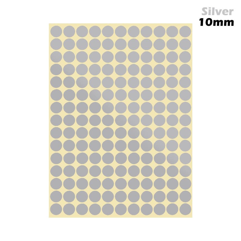 1 лист 10 мм/19 мм цветные наклейки в горошек круглые круги точки бумажные клеящиеся этикетки офисные школьные принадлежности - Цвет: silver 10mm