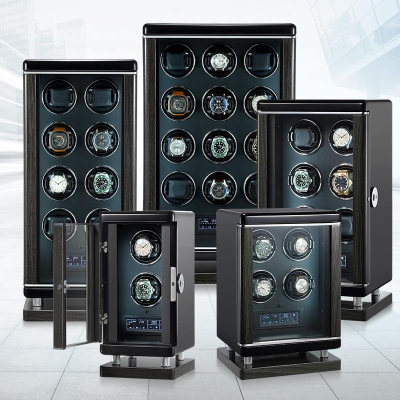 Winders Cabinet Mechanical-Watch Automatic Luxury Black with Fingerprint Unloc Storage-Display