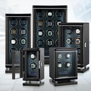 Winders Mechanical-Watch Solid-Wood Automatic Luxury Cabinet with Fingerprint Unloc Black