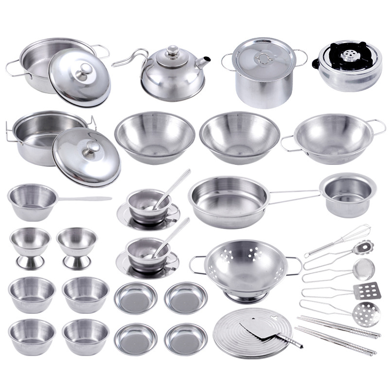 3-40 Pieces Funny Mini Kitchen Cookware Pot Pan Set For Kids Pretend Cook Play Toy Simulation Kitchen Utensils Toy New Year Gift