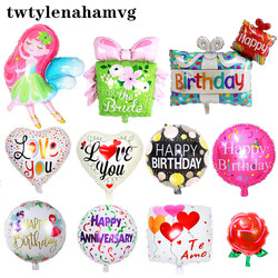 New Beautiful Bow Flower Gift Package Happy Birthday Foil Round Love Peach Balloon Thanksgiving Wedding Mother's Day Ball