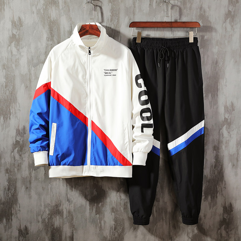 Hip Hop Men's Streetwear Sets Sportswear Tracksuit Men Patchwork Jacket Sweatpants Jackets Ropa Hombre Men's Clothing BE50JK