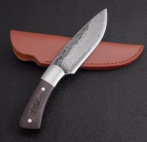 Image 4 - חיצוני טקטי קבוע סכיני גבוהה פחמן פלדת דמשק דפוס סכין בעבודת יד קמפינג ציד סכין EDC כלים משלוח חינם