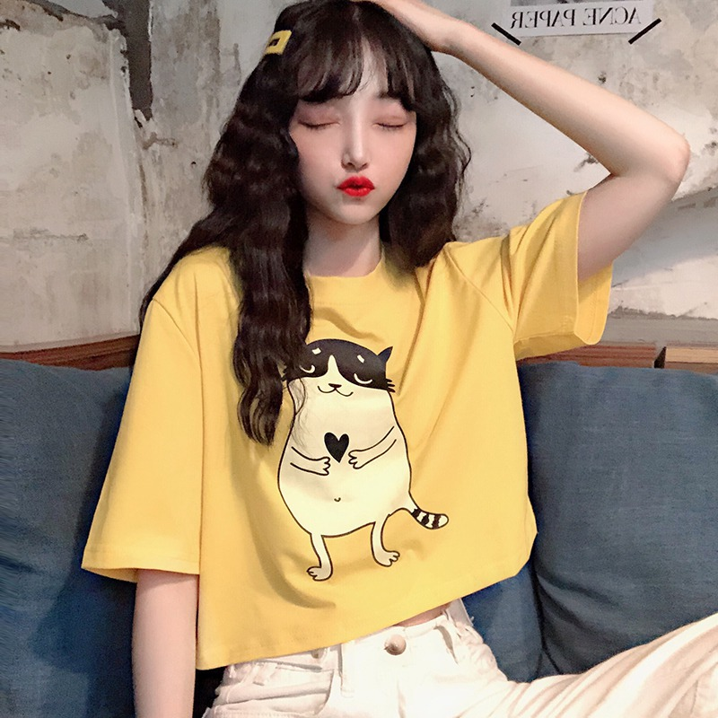 Summer Tee Female Yellow Cartoon Print Sexy Fashion New Loose Style Round Neck Womens T-shirt