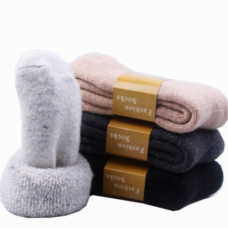 Winter Warm Thermal Women Solid Cashmere Socks Thickened Thick Thread Warm Unisex Wool Socks Floor Sleeping Socks Female