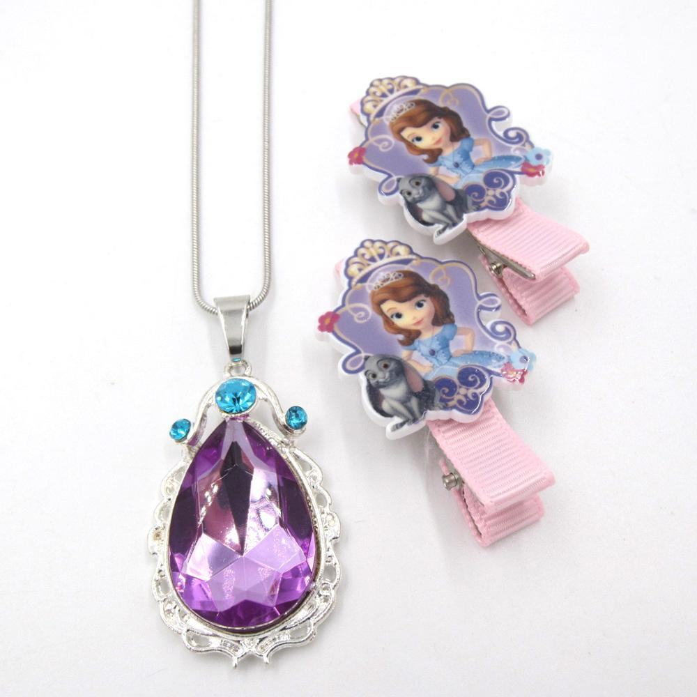 Baby Girls Gift Princess Sofi The First Purple Teardrop Amulet Pendant Chain Necklaces Sofia Hairpin Clip Jewelry For Child 1Set|Jewelry Sets| - AliExpress