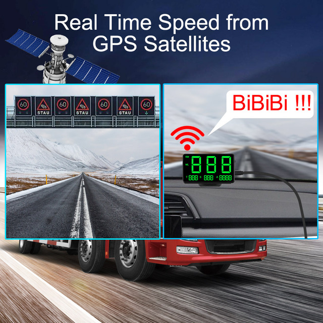 Car Head Up Display C60s/C80 Odometer KM/h MPH Car styling Big Fonts LED Display Car GPS Speedometer Altitude Display Projector