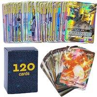 50-300 Uds Pokemons tarjeta brillante TAKARA TOMY GX VMAX V MAX tarjetas de juego de batalla carta comercial juguete de los niños