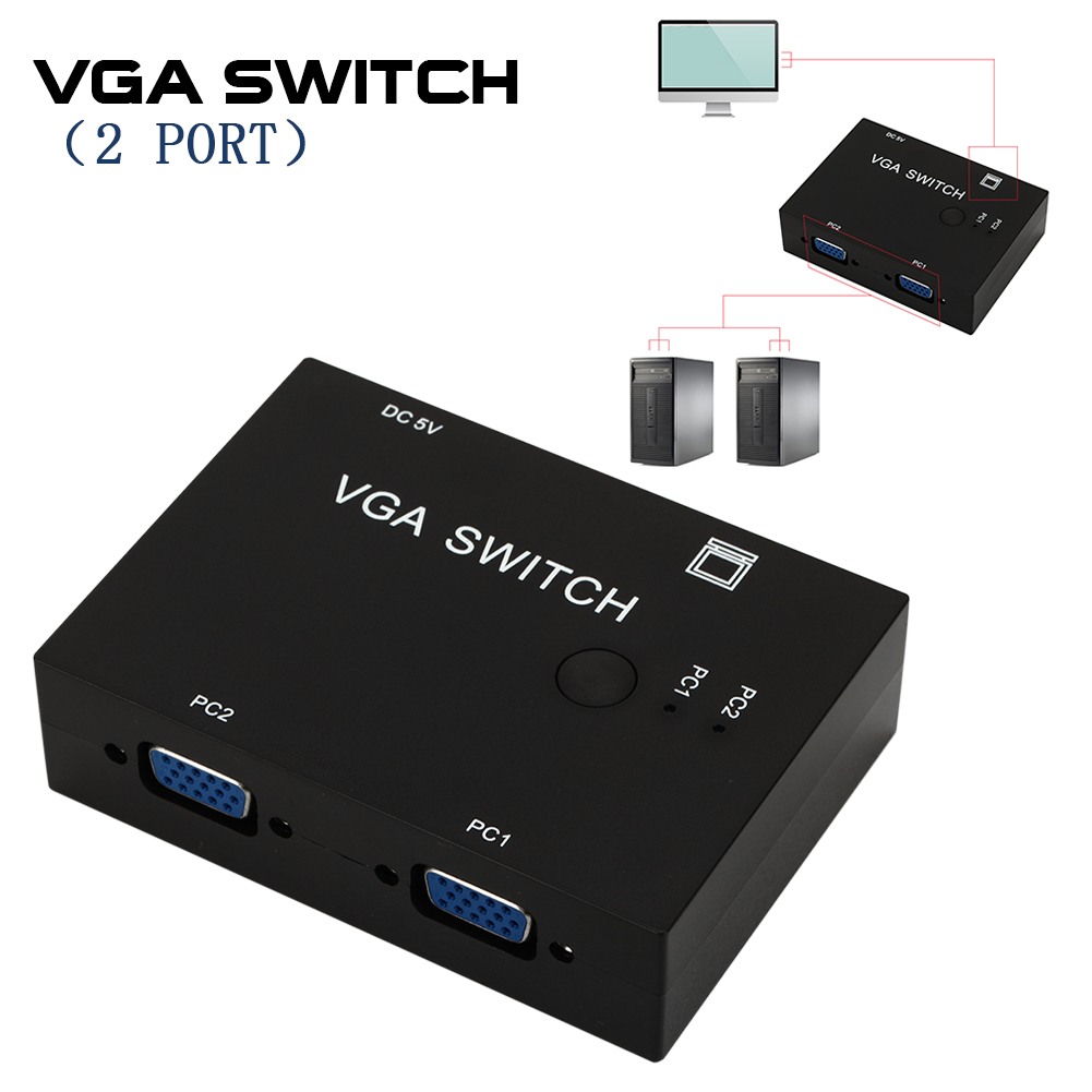 2 Ports Switcher Splitter 2 Ways SVGA Video Switch Adapter Converter Box For PC Monitor Accessories